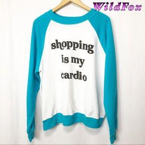 Wildfox-Blue & White Graphic Sweatshirt M